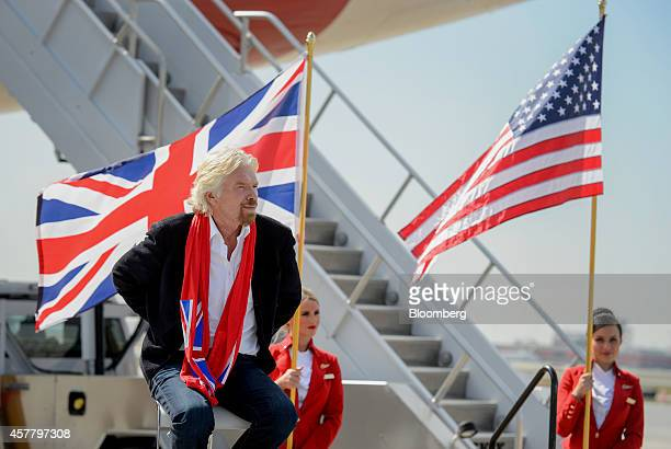 Richard Branson chairman and founder of Virgin Group Ltd looks on during a news conference at HartsfieldJackson Atlanta International airport in...