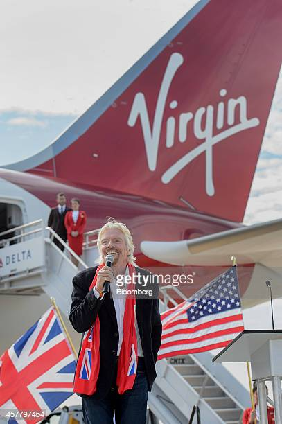 Richard Branson, chairman and founder of Virgin Group Ltd., speaks during a news conference at Hartsfield-Jackson Atlanta International airport in...
