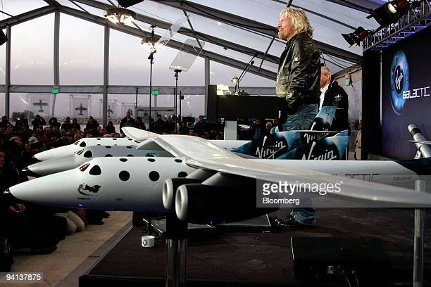 Richard Branson, chairman of Virgin Group Ltd., addresses the media during the unveiling of the Virgin Galactic Spaceship 2, the world's first...