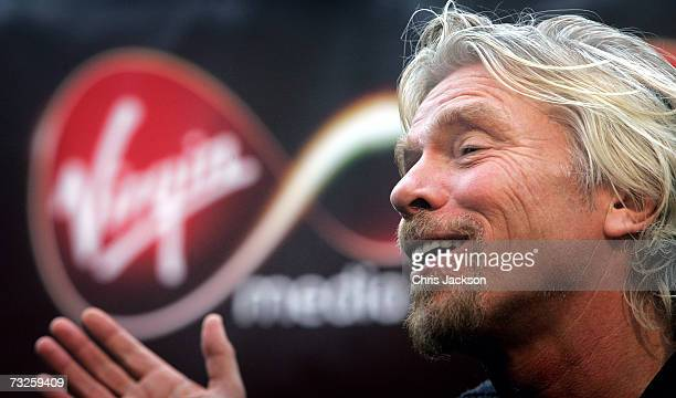 Richard Branson is seen at the launch of Virgin Media at Convent Garden Market on February 8 2007 in London England Branson will spend the day in a...