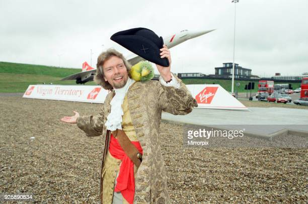 Richard Branson seen here at the entrance of the tunnel leading to the Heathrow terminals dressed as a pirate on the day the first Virgin airways...