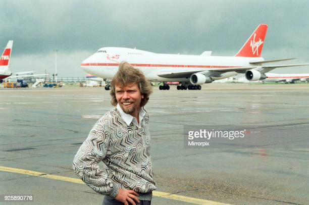 Richard Branson seen here on the apron at Heathrow to welcome the first Virgin airways flight to arrive at Heathrow 1st July 1991