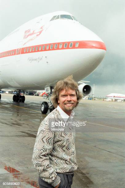 Richard Branson seen here on the apron at Heathrow to welcome the first Virgin airways flight to arrive at Heathrow, 1st July 1991.