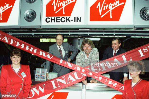 Richard Branson seen here opening the Virgin Atlantic check in desks at Heathrow 1st July 1991