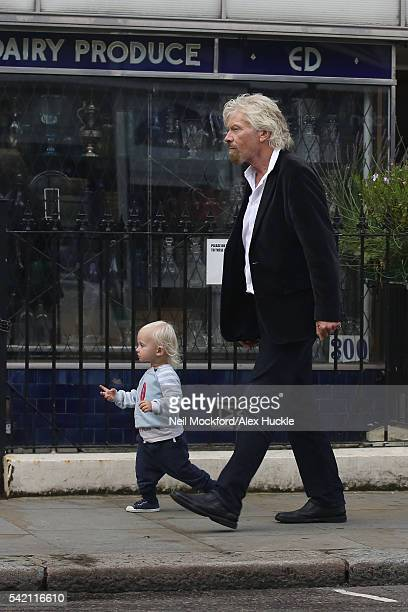 Richard Branson seen with his wife Joan and their grandchildren in Notting Hill on June 20, 2016 in London, England.