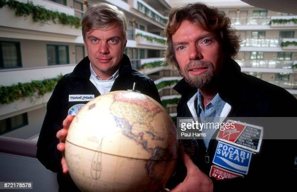 Richard Branson with his ballooning partner Per Lindstrand at a hotel in West Hollywood on May 25 Melrose Avenue, Los Angeles, California