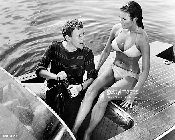 Richard Briers , as Flight Lieutenant Timothy Webb, and Raquel Welch as Fathom Harvill, in 'Fathom', directed by Leslie H. Martinson, 1967.