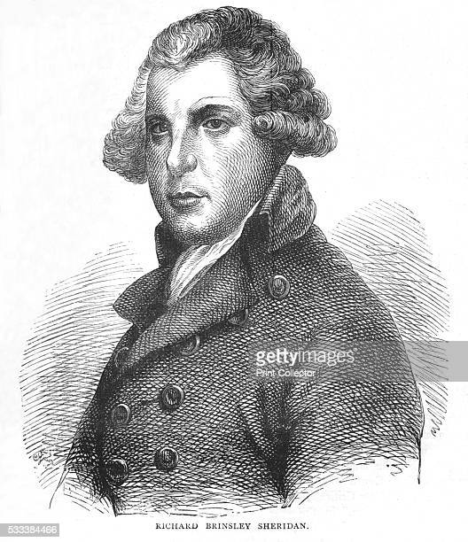 Richard Brinsley Sheridan, Irish dramatist, poet and politician' , from 'Old and New London Illustrated, Vol IV,' by Edward Walford , 1878. Richard...