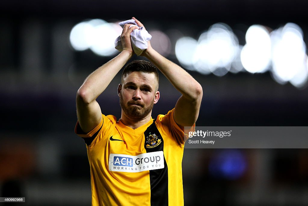 Richard Brodie of Southport applauds the fans after the FA Cup Third Round match between Derby County and Southport FC at iPro Stadium on January 3, 2015 in Derby, England.