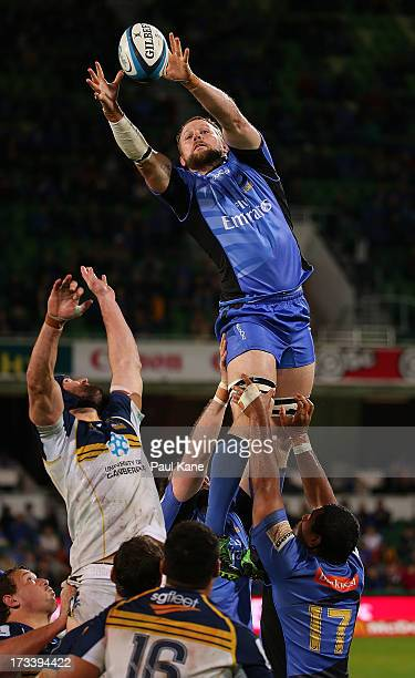 Richard Brown of the Force wins a lineout against Scott Fardy of the Brumbies during the round 20 Super Rugby match between the Force and the...