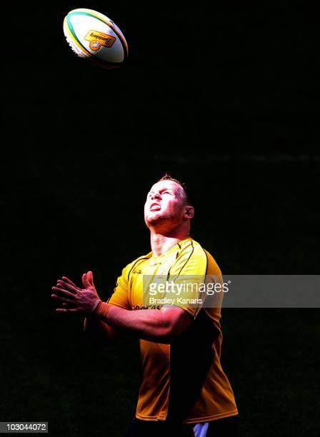 Richard Brown throws up the ball during an Australian Wallabies Captain's Run at Suncorp Stadium on July 23 2010 in Brisbane Australia