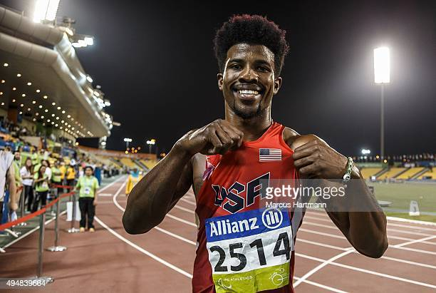 October 29: Richard Browne of the United States celebrates setting a new world record and winning the men's 100m T44 final during the Evening Session...