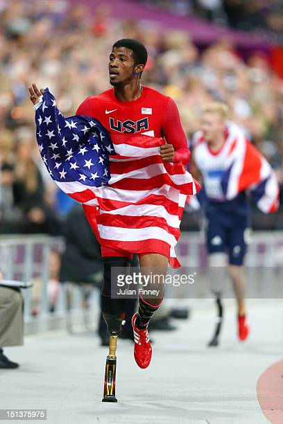 Richard Browne of the United States celebrates winning silver in the Men's 100m T44 Final on day 8 of the London 2012 Paralympic Games at Olympic...