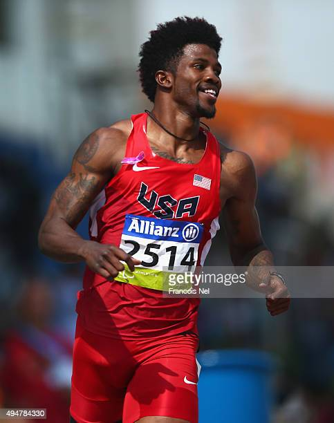 Richard Browne of the United States competes in the men's 100m T44 heats during the Morning Session on Day Eight of the IPC Athletics World...