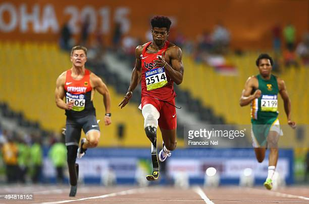 Richard Browne of the United States in action on his way to setting a new world record and winning the men's 100m T44 final during the Evening...