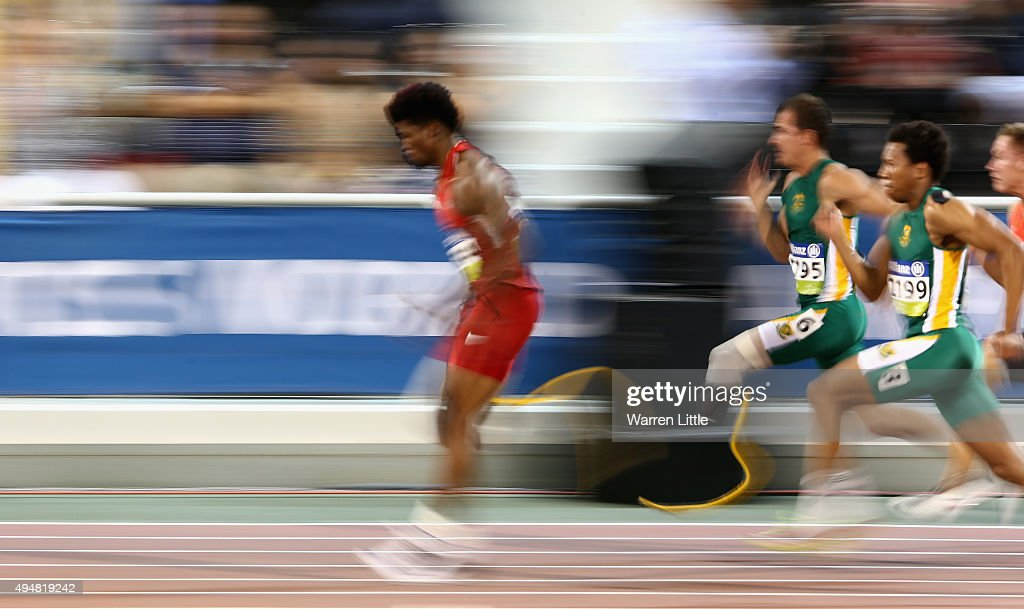 Richard Browne of the United States in action on his way to setting a new world record and winning the men's 100m T44 final during the Evening Session on Day Eight of the IPC Athletics World Championships at Suhaim Bin Hamad Stadium on October 29, 2015 in Doha, Qatar.