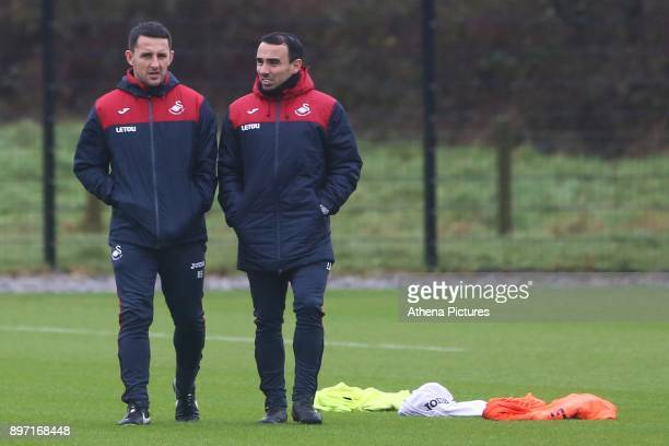 Richard Buchanan and Leon Britton of Swansea City during the Swansea City Training at The Fairwood Training Ground on December 21 2017 in Swansea...