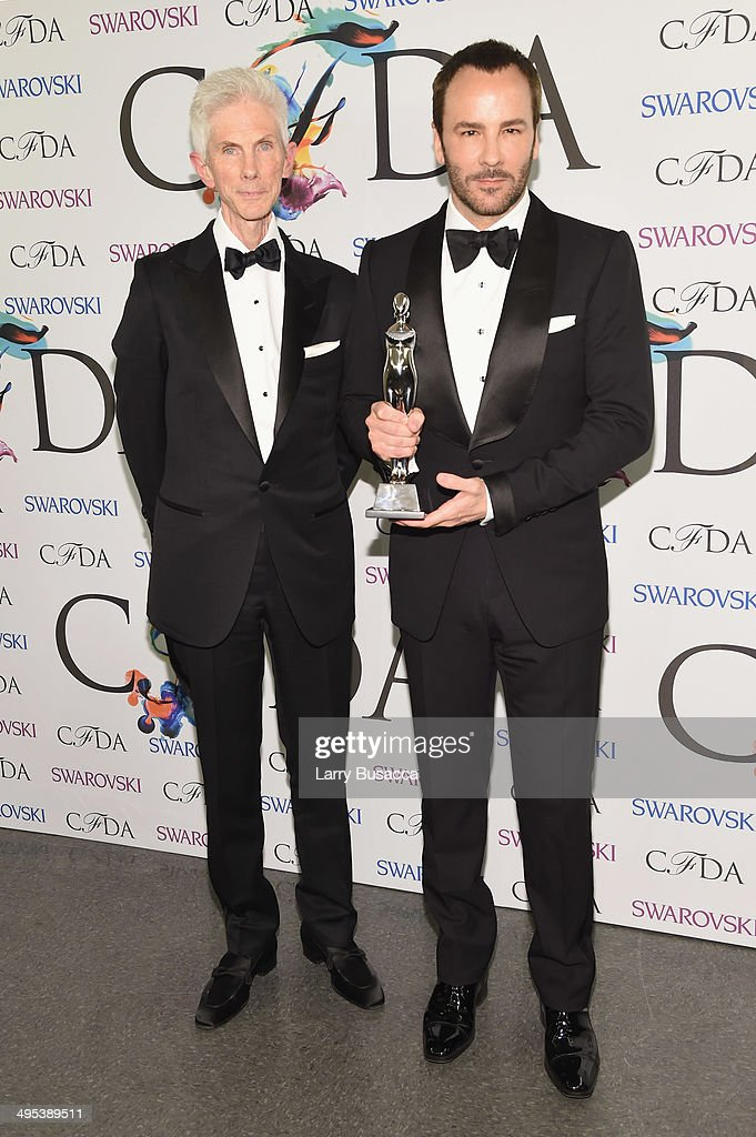 Richard Buckley and Geoffrey Beene lifetime achievement award recipient Tom Ford attend the winners walk during the 2014 CFDA fashion awards at Alice Tully Hall, Lincoln Center on June 2, 2014 in New York City.