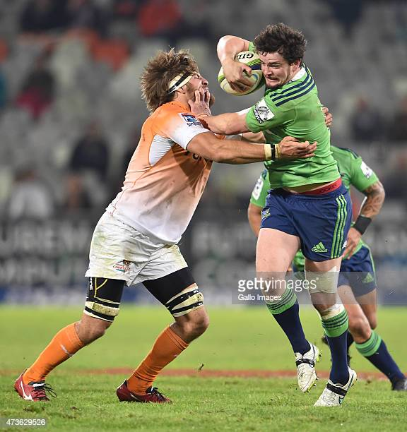 Richard Buckman of the Highlanders and Boom Prinsloo of the Cheetahs during the Super Rugby match between Toyota Cheetahs and Highlanders at Free...