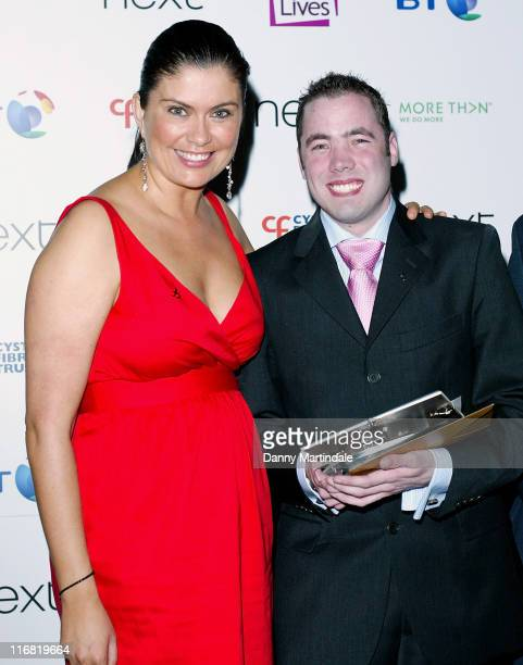 Richard Burbridge aged 27 from Reading with his Living Life award with presenter Amanda Lamb during the Breathing Life Awards at the Hilton Metropole...