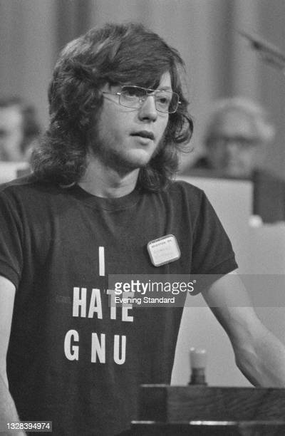 Richard Burden, a member of the Students' Union at the University of York, addresses the Liberal Party Conference in Brighton, UK, September 1974. He...