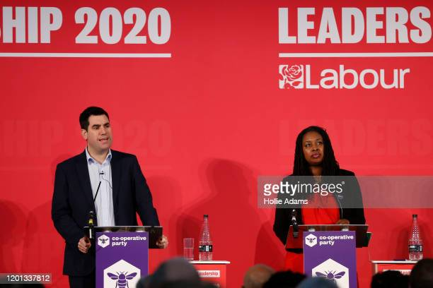 Richard Burgon and Dawn Butler speaking at a hustings event for Labour Leader and Deputy Leader hosted by the Cooperative Party at the Business...