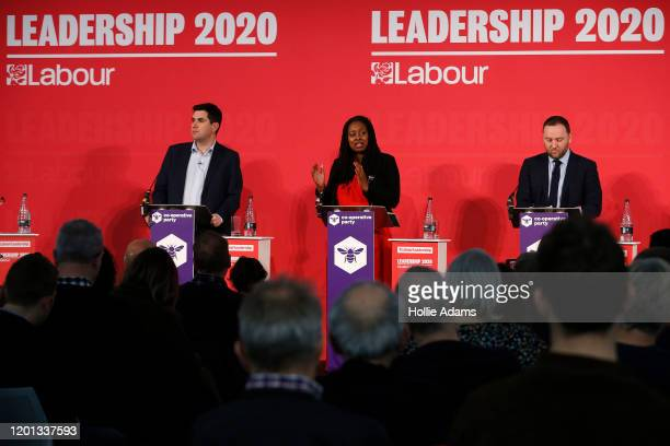 Richard Burgon Dawn Butler and Ian Murray speaking at a hustings event for Labour Leader and Deputy Leader hosted by the Cooperative Party at the...