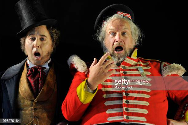 Richard Burkhard as Ford and Henry Waddington as Sir John Falstaff in Giuseppe Verdi's Falstaff directed by Bruno Ravella and conducted by Richard...