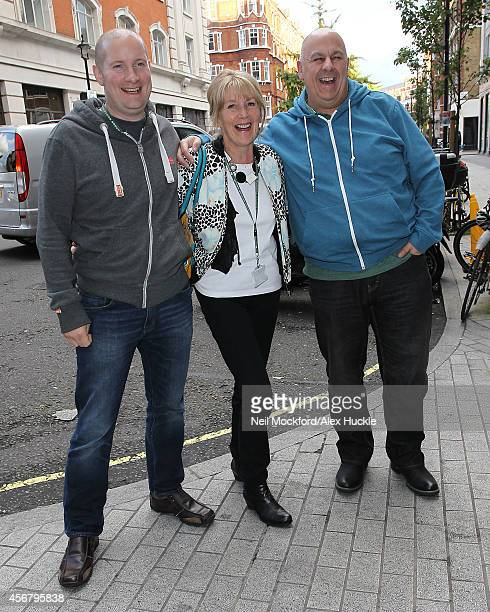 Richard Burr Nancy Birtwhistle and Luis Troyano the finalists from The Great British Bake Off 2014 seen arriving at BBC Radio One on October 7 2014...