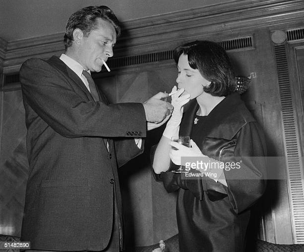 Richard Burton and Claire Bloom attend a reception at the Dorchester Hotel London to launch their latest film 'Look Back in Anger' August 1958
