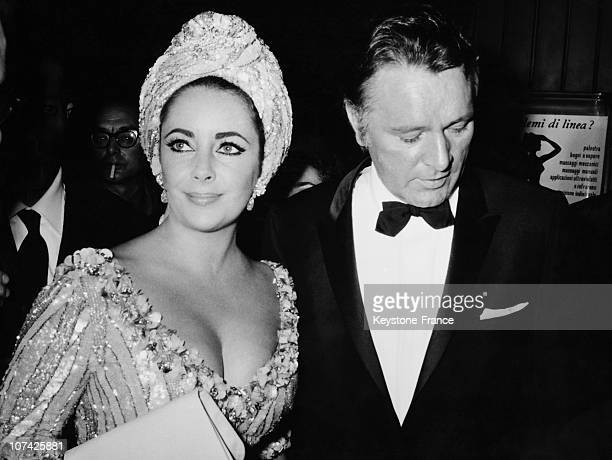 Richard Burton And Elisabeth Taylor At The Sistina Theater At Rome In Italy On October 5Th 1966