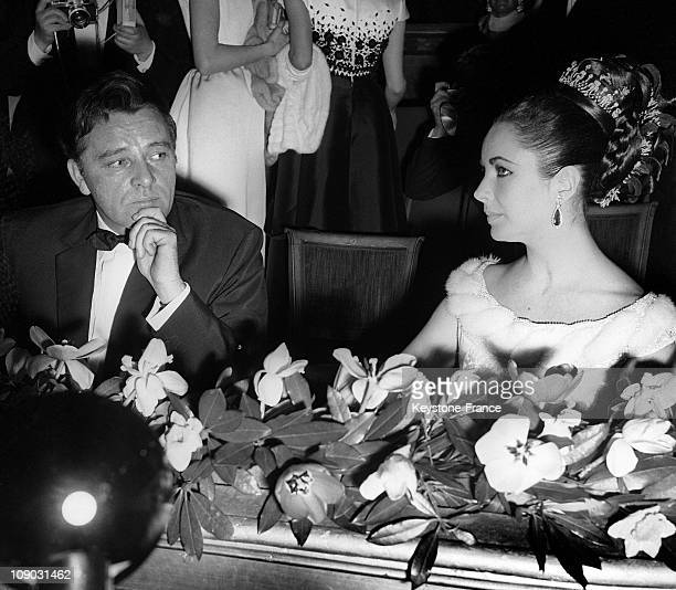 Richard Burton and Elizabeth Taylor at The Gala For The Film 'Lawrence Of Arabia' at the ChampsElysees Theater Paris France