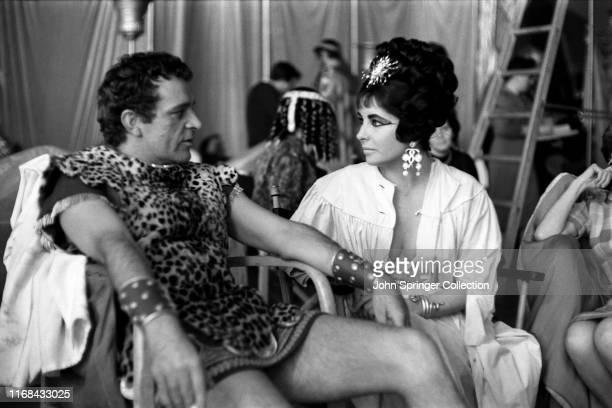 Richard Burton and Elizabeth Taylor on the set of Cleopatra