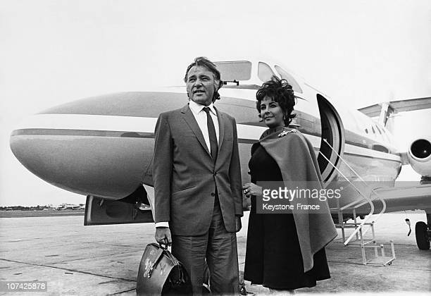 Richard Burton And His Wife Elisabeth Taylor At Abington In England On October 14Th 1967