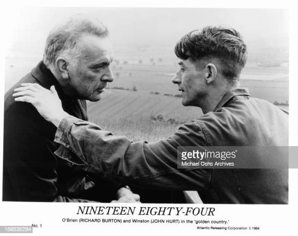 Richard Burton and John Hurt in 'golden country' in a scene from the film '1984', 1984.
