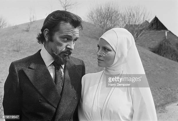 Richard Burton and Raquel Welch in costume during the filming of 'Bluebeard' directed by Edward Dmytryk 20th March 1972 Burton plays Baron von Sepper...