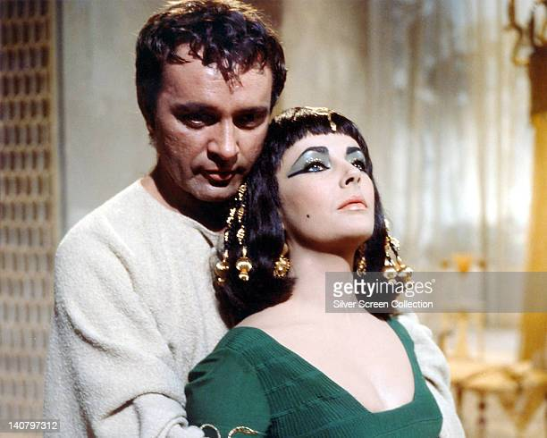 Richard Burton , British actor, and Elizabeth Taylor , British actress, both in costume in a publicity still issued for the film, 'Cleopatra', 1963....