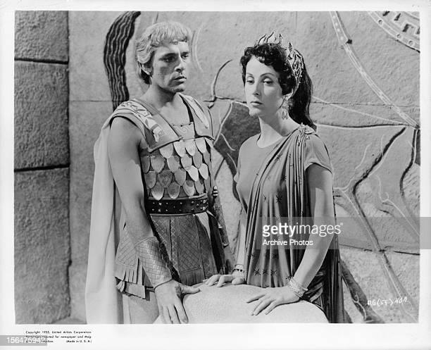 Richard Burton looks to Danielle Darrieux in a scene from the film 'Alexander The Great' 1956