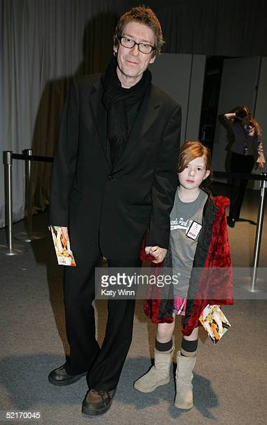 Richard Butler and Daughter Maggie poses for photos in the lobby of the main tent during Olympus Fashion Week Fall 2005 at Bryant Park February 9...