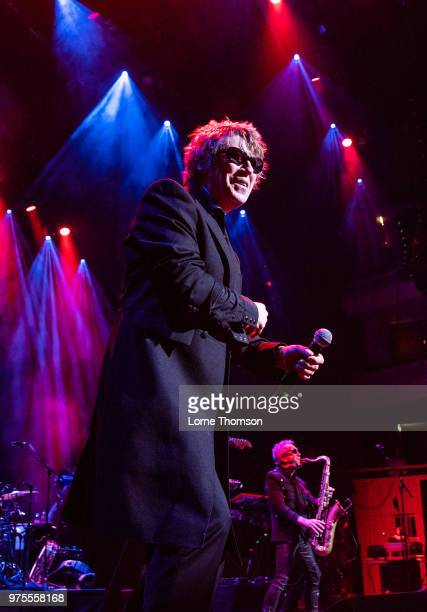 Richard Butler and Mars Williams of Psychedelic Furs perform at The Royal Festival Hall on day one of Robert Smith's Meltdown on June 15 2018 in...