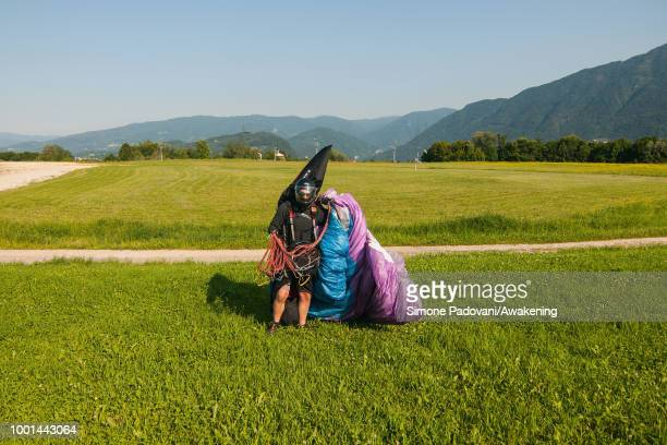 Richard Butterworth lands at the landing Area Boscherai after the training on July 18 2018 in Feltre Italy Richard Butterworth starts training with...