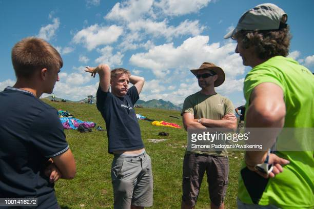 Richard Butterworth speaks with the others British paragliders before the training at Monte Avena on July 18 2018 in Feltre Italy Richard Butterworth...