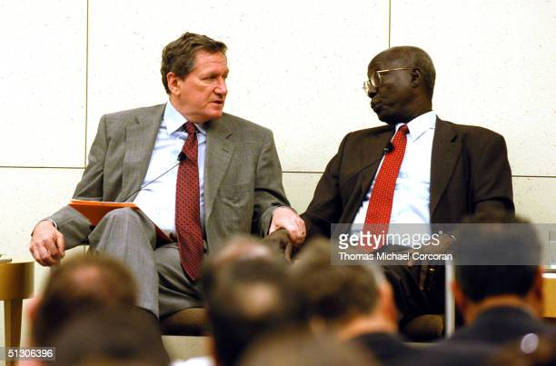 Richard C Holbrooke and Francis M Deng speak to the news media and guests at the Brookings Institution September 14 2004 in Washington DC Holbrooke...