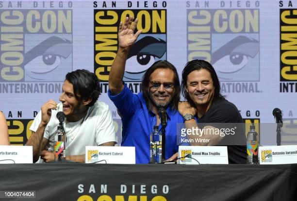 Richard Cabral Raul Max Trujillo and Antonio Jaramillo speak onstage at the 'Mayans MC' discussion and QA during ComicCon International 2018 at San...