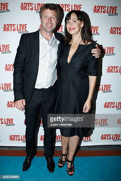 Richard Caillat and Mathilda May attend 'Open Space' Premiere At Theatre du Rond Point on September 10 2014 in Paris France