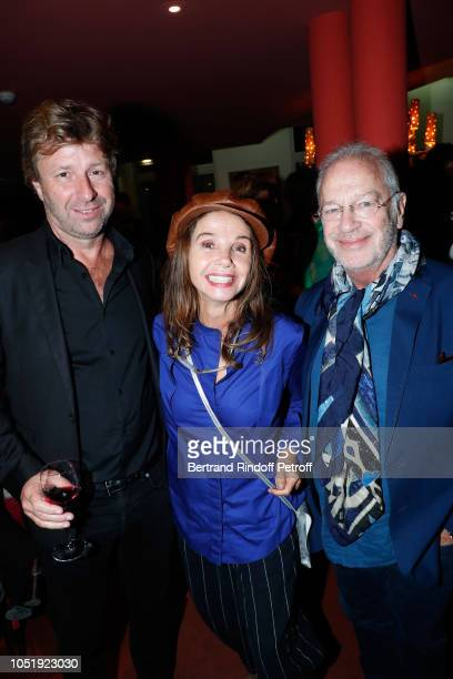 Richard Caillat Victoria Abril and Bernard Murat attend Le Banquet Theater play at Theatre du RondPoint on October 11 2018 in Paris France