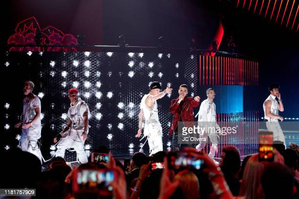 Richard Camacho, Christopher Velez, Erick Brian Colon, Joel Pimentel, and Zabdiel de Jesus of CNCO perform onstage during the 2019 Latin American...