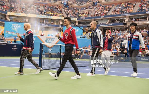 Richard Camacho Zabdiel de Jesus Christopher Velez Erick Brian Colon and Joel Pimentel of CNCO perform at the 2018 Arthur Ashe Kids' Day at USTA...