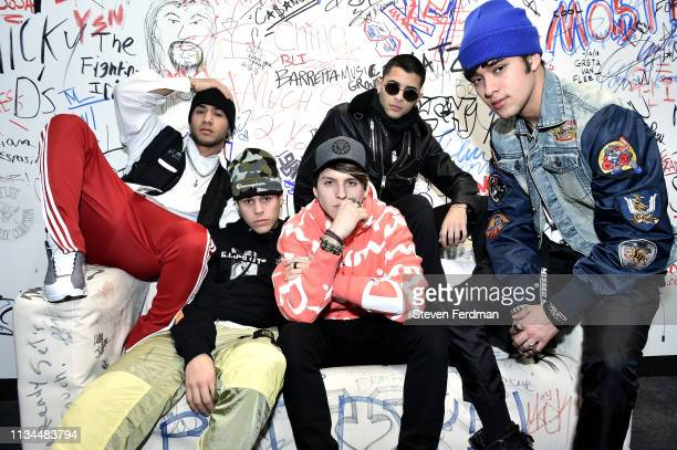 Richard Camacho Zabdiel de Jesus Christopher Velez Erick Brian Colon and Joel Pimentel of CNCO visit Music Choice at Music Choice on April 2 2019 in...