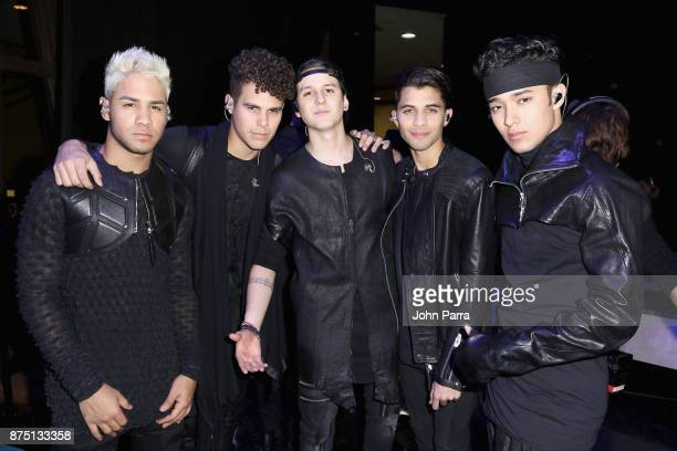Richard Camacho, Zabdiel De Jesus, Christopher Velez, Erick Colon, and Joel Pimentel of CNCO pose backstage during The 18th Annual Latin Grammy...